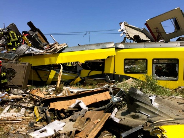 Train accident in Puglia