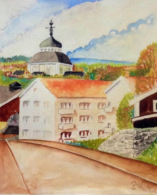 Akvaell av Bengt W Källman Söderhamnsmotiv 1945