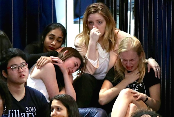 Hillary Clinton voters in tears